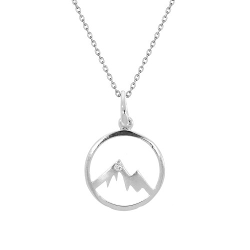 14K White Gold Mini Round Mountain Pendant With Diamond Accent