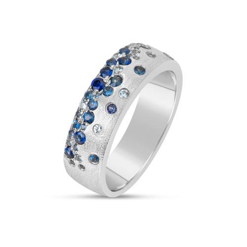 14K White Gold Flush-Set Blue Sapphire Ring