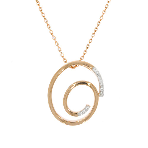 14K Rose Gold Spiral Pendant With Diamond Accents