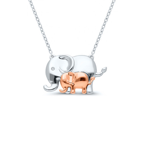 Sterling Silver Mother and Child Elephant Pendant