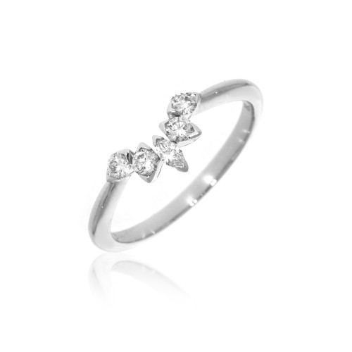 18K White Gold Nested Wedding Ring With Diamond Accents