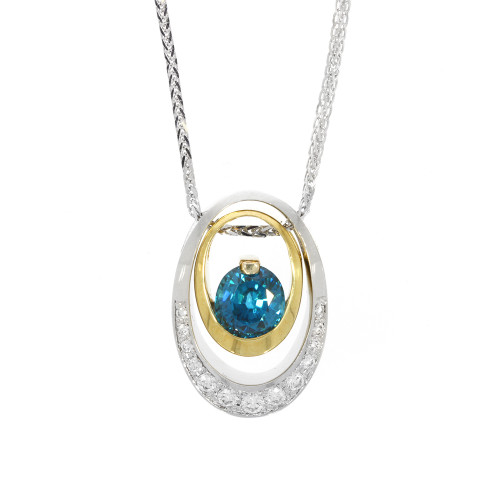 18K Yellow and White Oval and Blue Zircon Pendant With Diamond Accents