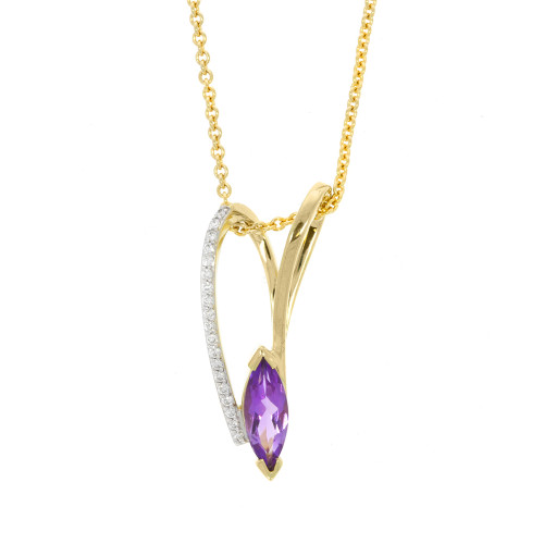 14K Yellow Gold Asymmetrical Amethyst Pendant With Diamond Accents