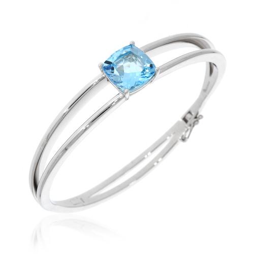 Sterling Silver Blue Topaz Split Bangle Bracelet