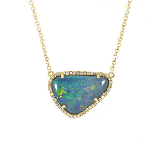 14K Yellow Gold Opal Doublet Pendant With Diamond Accents