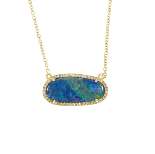 14K Yellow Gold Oval Opal Doublet Pendant With Diamond Accents
