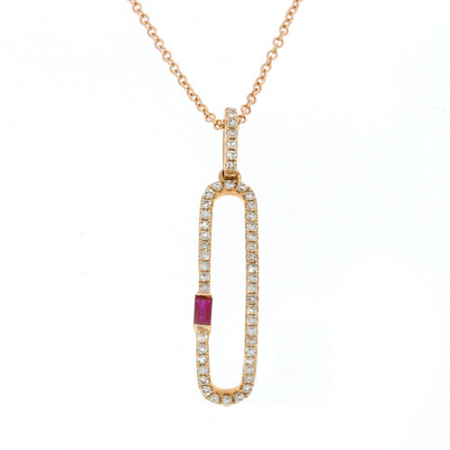 14K Rose Gold Ruby and Diamond Paper Clip Pendant