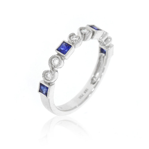 14K White Gold Blue Sapphire and Diamond Ring With Milgrain Detail
