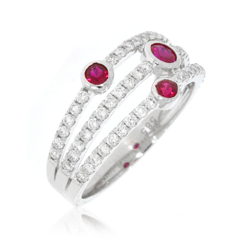 14K White Gold Three Row Ruby Ring With Diamond Accents
