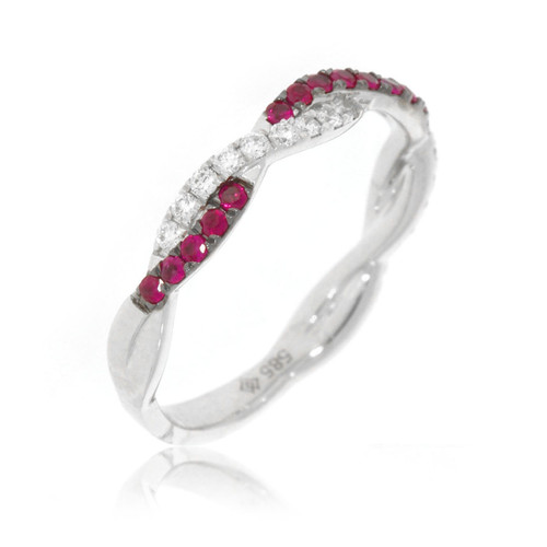 14K White Gold Ruby and Diamond Twist Ring