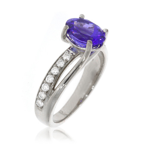 14K White Gold Oval Tanzanite Suspension Bypass Ring