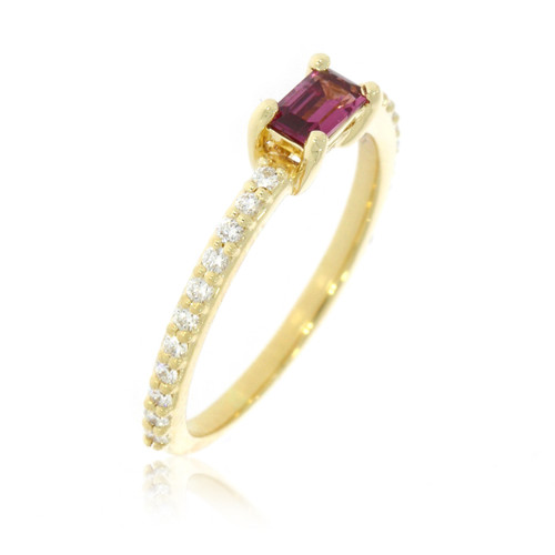 14K Yellow Gold East-West Rhodolite Garnet Ring With Diamond Accents