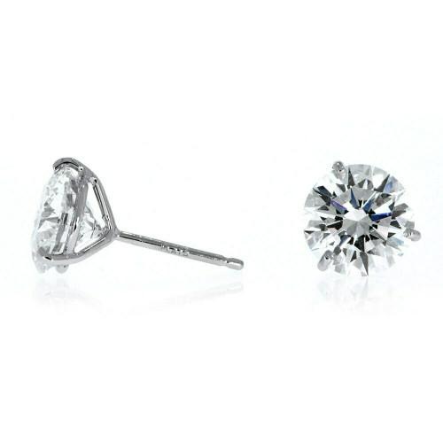 14K White Gold Diamond Solitaire Earrings - 2.00ctw