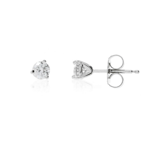 14K White Gold Diamond Solitaire Earrings - 0.21ctw