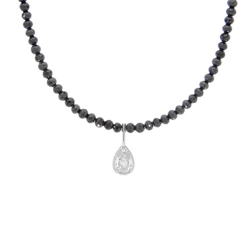 Faceted Black Diamond Necklace With 14K White Gold Pear Shape Diamond Accent