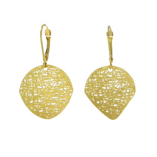 14K Yellow Gold Mesh Dangle Earrings
