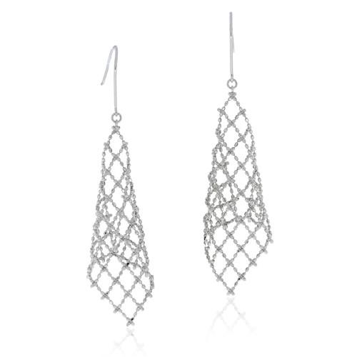18K White Gold Mesh Dangle Earrings