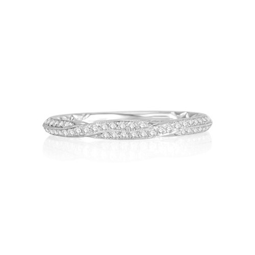 14K White Gold and Diamond Twisted Wedding Ring