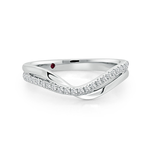14K White Gold V Shaped Stackable Wedding Ring With Diamond Accents