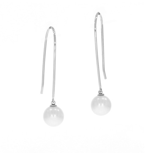 18K White Gold Pull Through Pearl Earrings