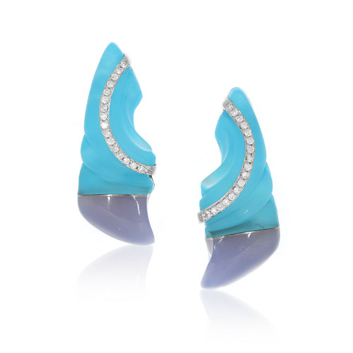 14K White Gold Steve Walters Carved Chalcedony Earrings With Platinum and Diamond Accents