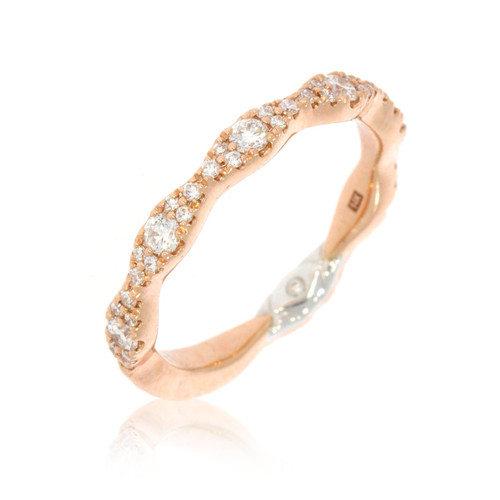 14K Rose Gold Scalloped Diamond Wedding Ring