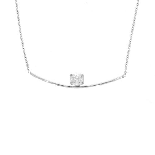 14K White Gold Bar Necklace With Cushion-Cut Diamond