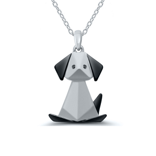 Sterling Silver With Black Rhodium Overlay Origami Dog Pendant