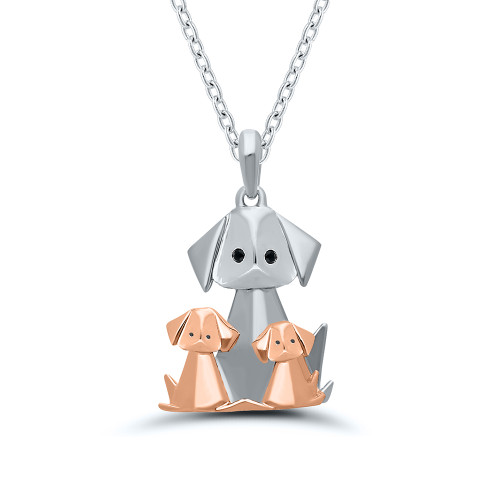 Sterling Silver With Rose Gold Overlay Origami Dog and Puppies Pendant