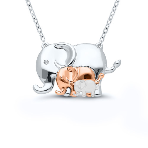 Sterling Silver Mother and Children Elephant Pendant