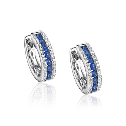 14K White Gold Channel-Set Blue Sapphire and Diamond Huggie Earrings