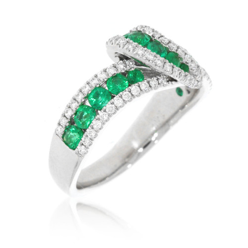 14K White Gold Emerald and Diamond Overlapping Ring