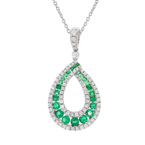18K White Gold Emerald and Diamond Open Loop Pendant