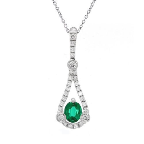 18K White Gold Diamond Teardrop Pendant With Emerald Accent