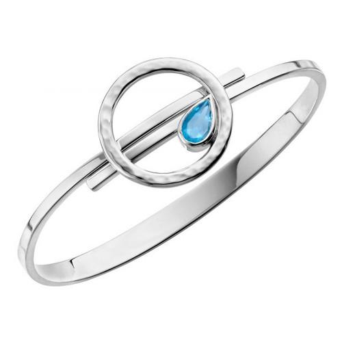 Sterling Silver Blue Topaz Swing Open Bangle Bracelet