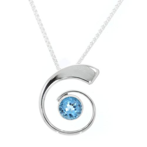 Sterling Silver Blue Topaz Spiral Pendant