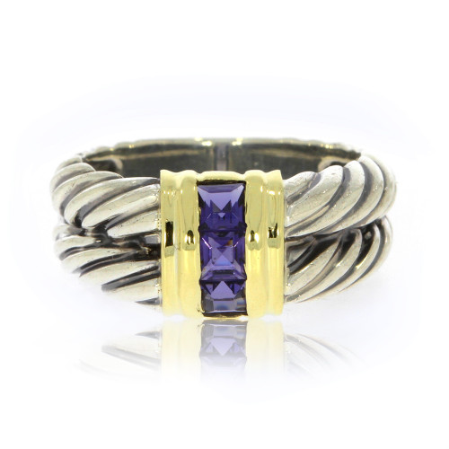 Sterling Silver and 18K Yellow Gold David Yurman Double Cable Ring With Princess-Cut Gemstones