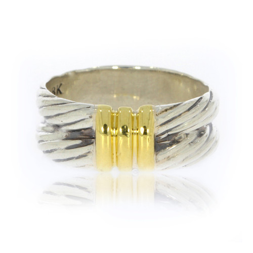 Sterling Silver and 18K Yellow Gold David Yurman Double Cable Ring