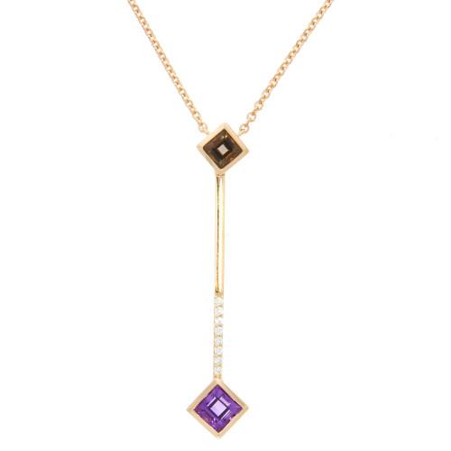 14K Rose Gold Amethyst and Diamond Stick Necklace