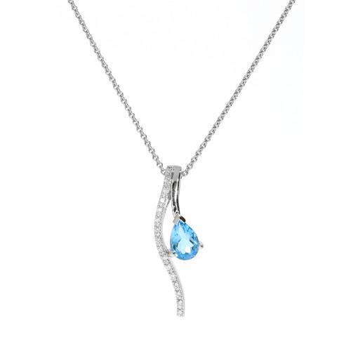 14K White Gold Blue Topaz and Diamond Bypass Necklace