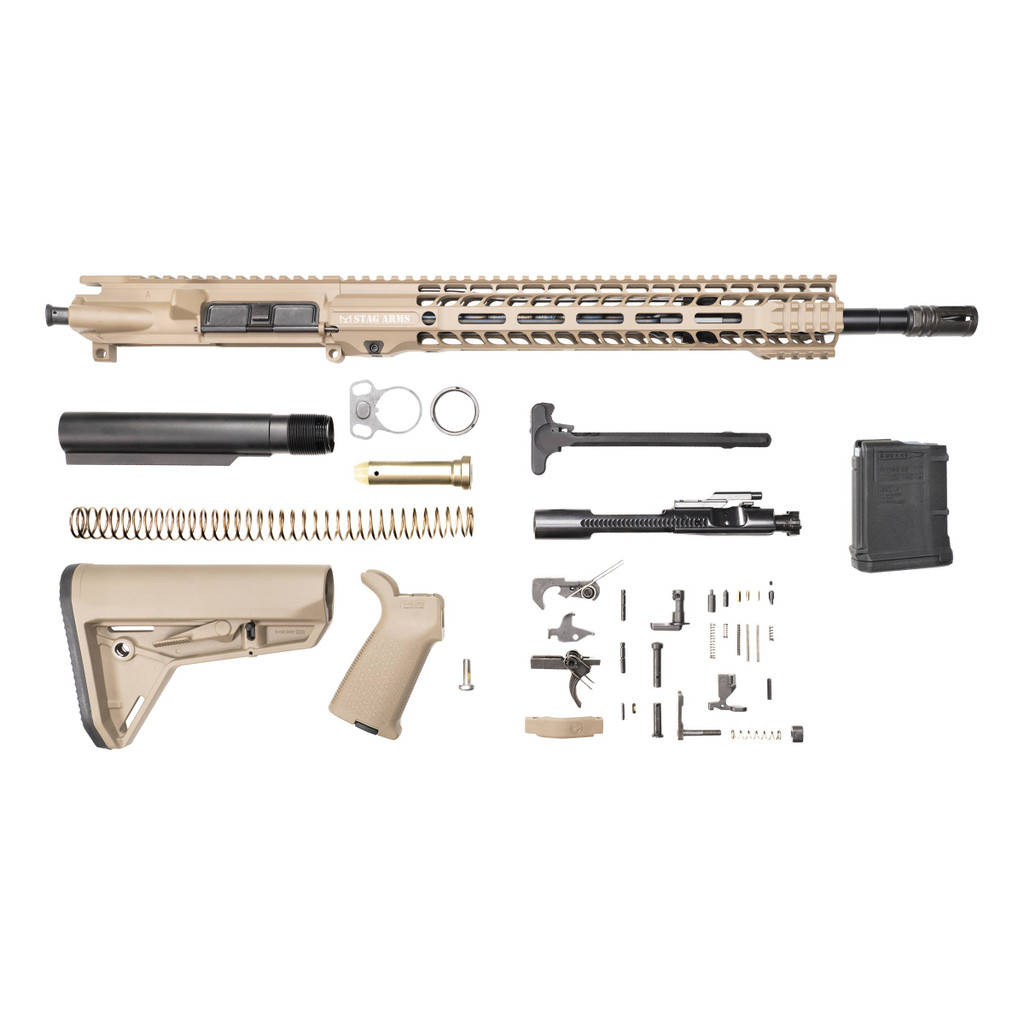 Stag 15 Tactical FDE Nitride Rifle Kit - 10rd Magazine w/Quad HG