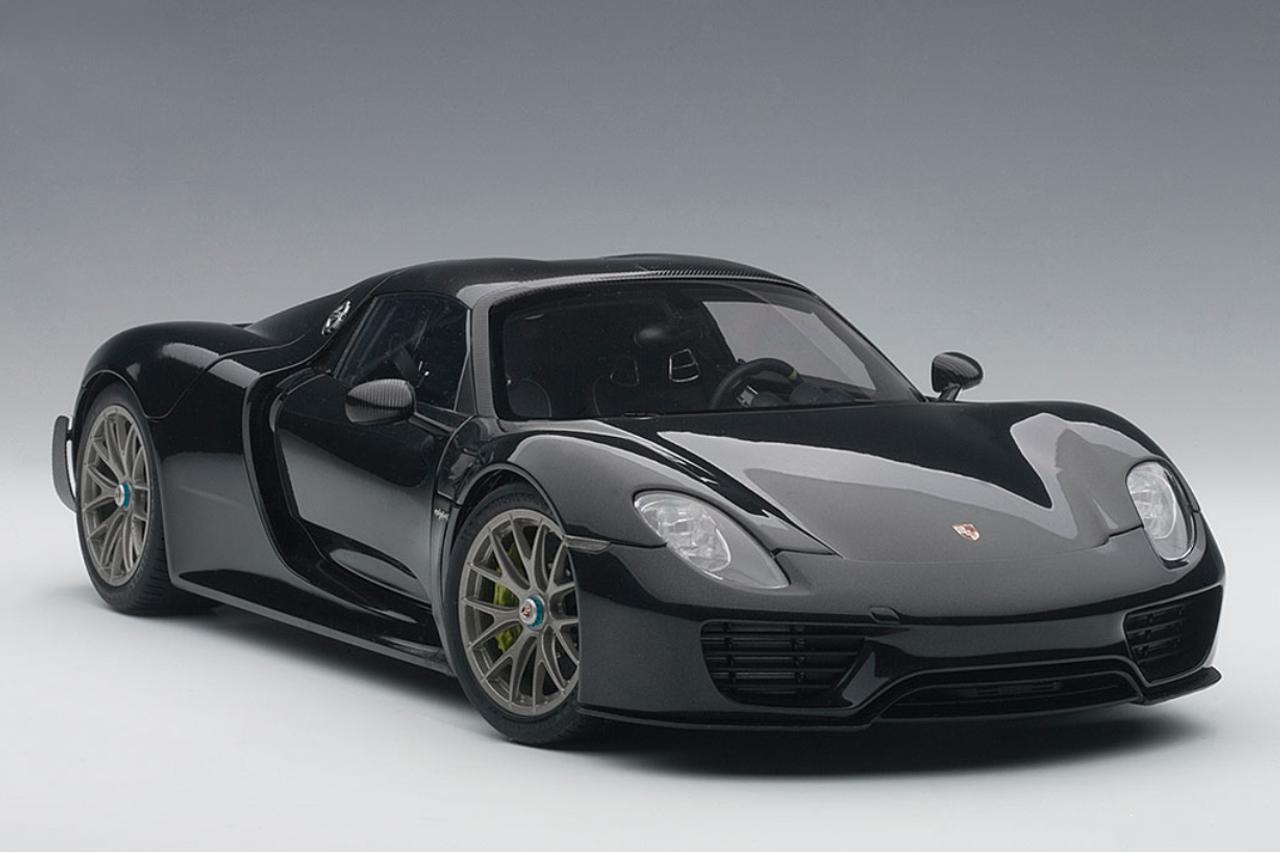 1 18 Autoart Porsche 918 Spyder Weissach Package Basaltschwarzmetallic Black Metallic Diecast Model 77928
