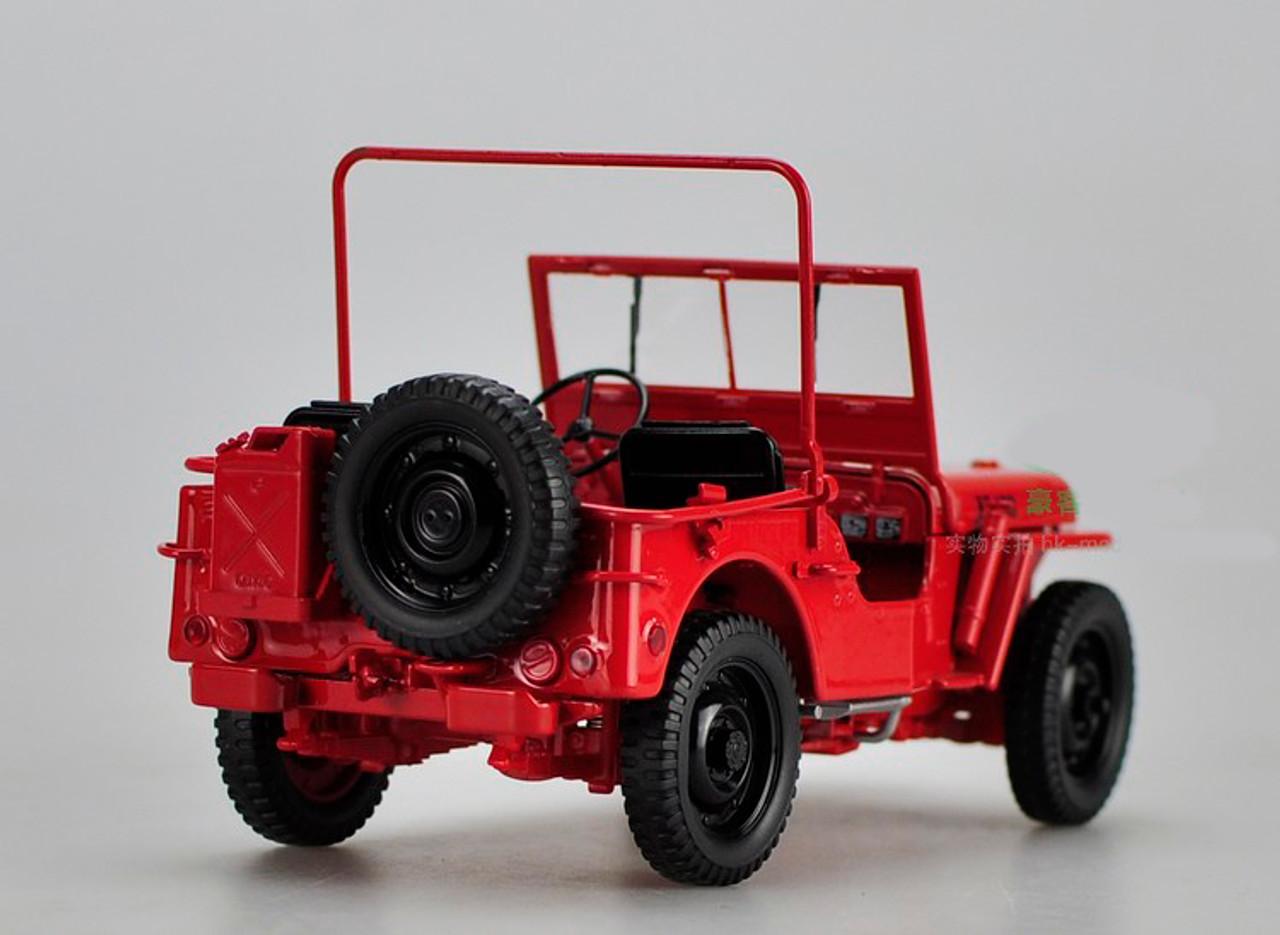 1/18 Welly FX Classic Jeep M151 WW2 Quarter 1/4 Ton Army Truck (Red) Diecast Car Model