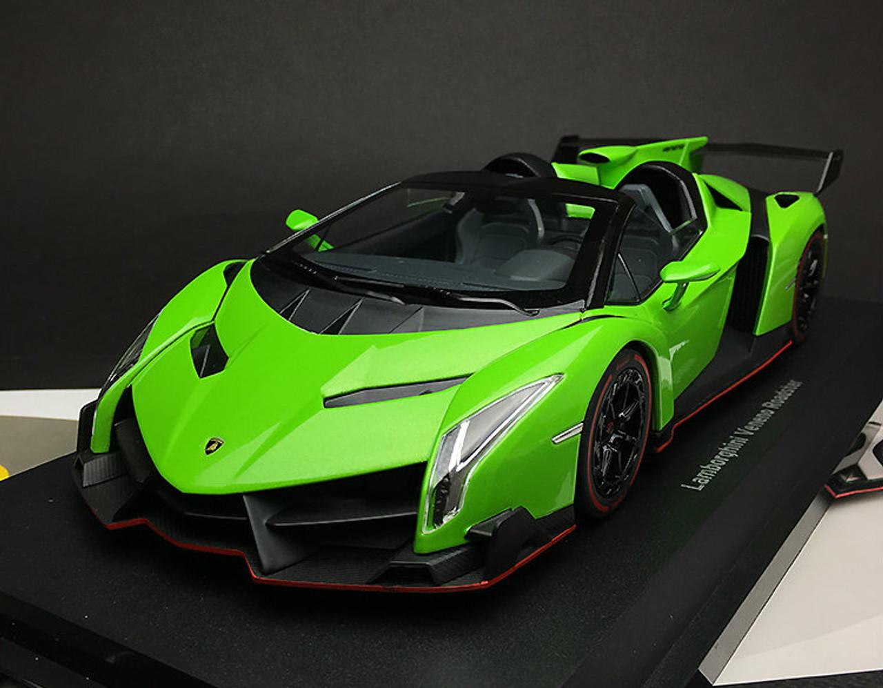 1 18 Kyosho Ousia Lamborghini Veneno Roadster Green W Red Line Car Model Livecarmodel Com