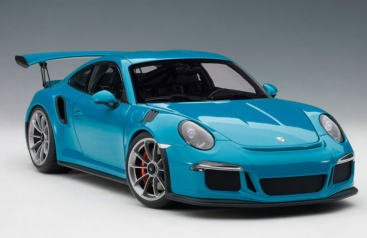 1 18 Autoart Porsche 911 991 Gt3 Rs Miami Blue Dark Grey Wheels Diecast Car Model Livecarmodel Com