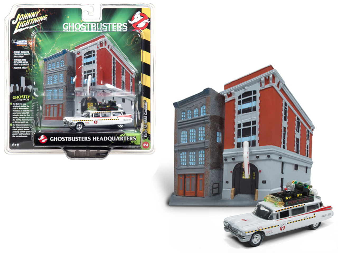 1 64 Johnny Lightning 1959 Cadillac Ecto 1a Ambulance With Firehouse