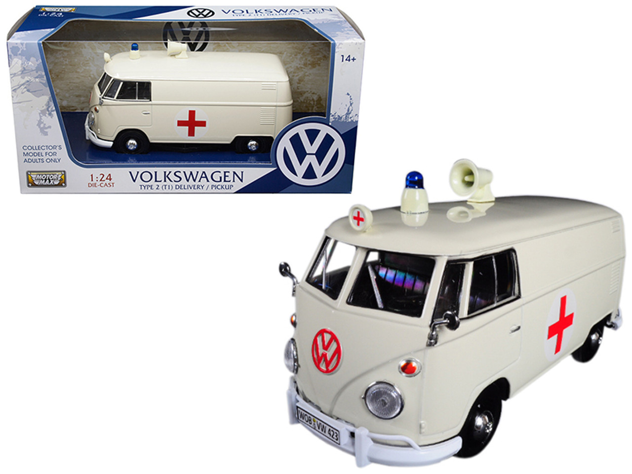 1/24 Motormax Volkswagen Type 2 (T1) Ambulance (Cream) Diecast Car Model