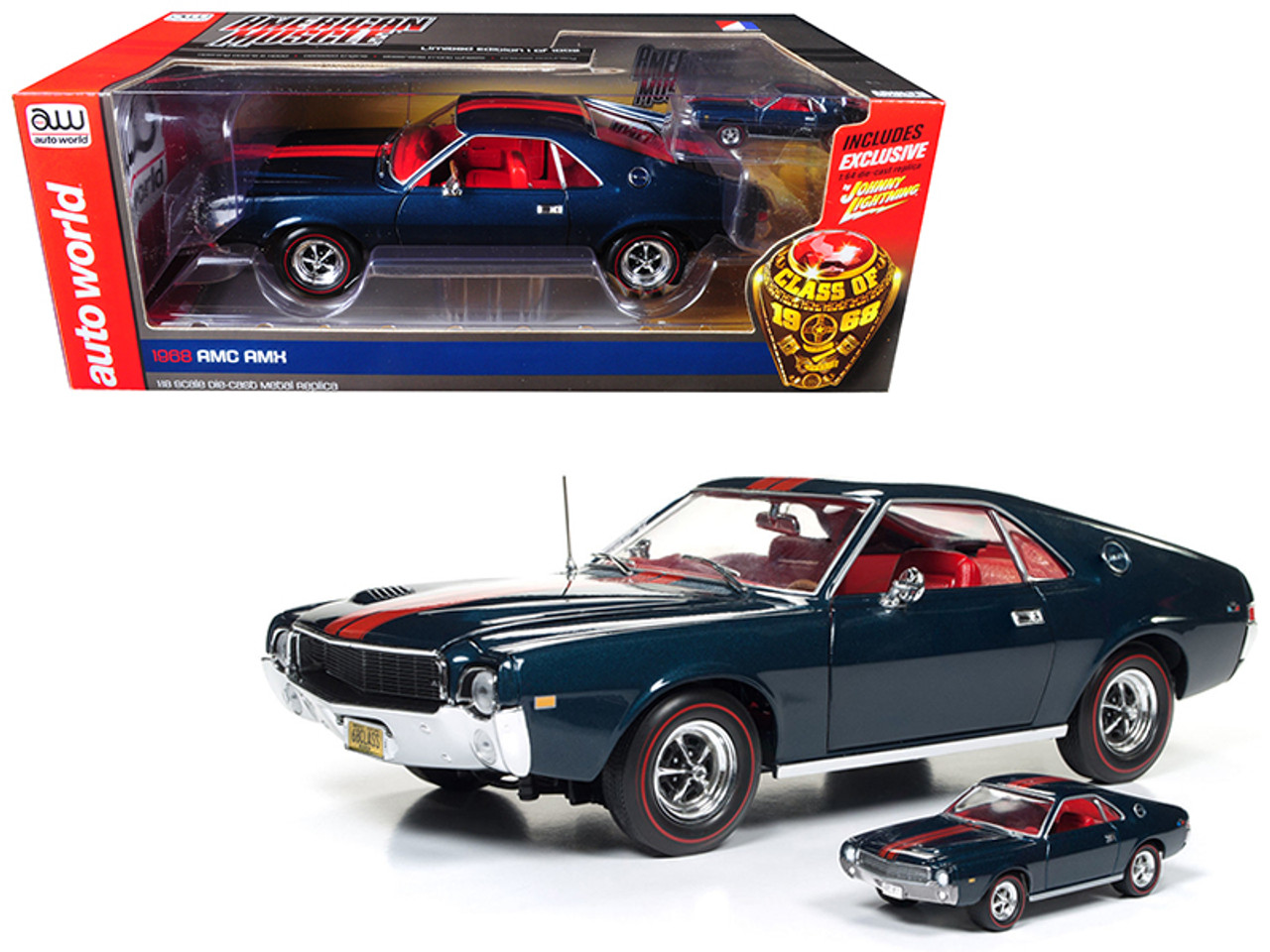 "Autoworld 1968 AMC AMX Hardtop Blazer Blue ""Class of 68"" 50th Anniversary 1/18 and 1/64 2 Cars Set Limited Edition to 1002 pieces Worldwide Diecast Model Cars"