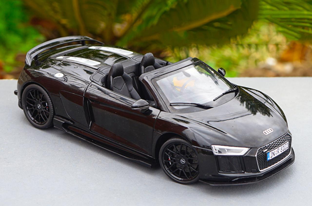 1/18 Dealer Edition 2016 Audi R8 V10 Plus Spyder Coupe (Black) w/ Rear Wing Diecast Car Model