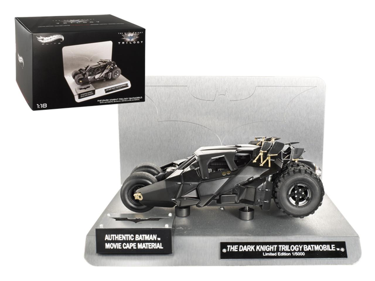 "1/18 Hot Wheels Hotwheels Elite ""The Dark Knight"" Trilogy Batmobile With Authentic Movie Batman Cape Material Diecast Car Model"
